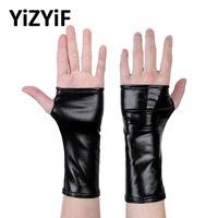 خمسة أصابع قفازات yizyif النساء مظهر الرطب براءات الاختراع جلد نصف أصابع الإبهام ثقب مصغرة القفازات حزب حلي clubwear shiny1