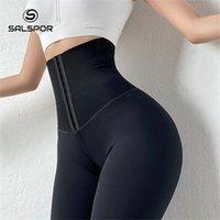 SALSPOR Femmes Taille haute Taille Chaudes Chaudes Femmes Sexy Push Up Leggings Pour Fitness Sports Leggins Corset Slim SportSwear Femme Pantalon 201125