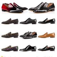 2020Top Qualität Rotunterseiten Mensschuhe Spikes Männer kleiden Schuhe Loafer Matt-Glanzleder Wildleder Runde Zehen Männer zufällige Turnschuhe rutschen auf 38-48