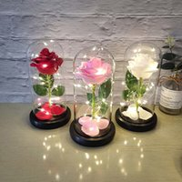 غطاء الزجاج الخالد أدى ضوء الليل احباط الذهب روز زهرة عيد الحب هدية الإبداعية هدية الديكور