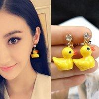 Dangle Chandelier Super Bonito Mini Amarelo Duck Brincos Sem Piercing Pequenos Animais Clip no Kid Fashion Jewelry