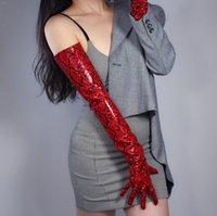 Женская мода сексуальной тонкие красная змеиная лже пу кожаных перчаток дама клубного выступление формальной сторона кожа длинная перчатка 70см R2316