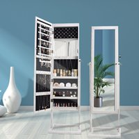 WACO Jewelry Cabinet Armoire Bedroom Furniture, with Mirror Archaize Wood LED lights Necklace Hooks, Jewelries Storage Rack Shelf Dressers Display White