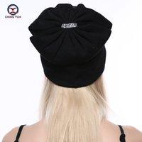 CHING YUN femmes chapeau en tricot de cachemire nouvelle douce hiver chaud broderie en strass de haute qualité Femme Solide Couleur Bonnet en maille B19-13 201012