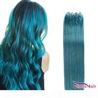 """Farbe Blaue Micro Ringschleife Haarverlängerungen 100 Stränge 0,5g s seidig gerader brasilianischer remy micro link perlen echtes menschliches haar 16-22 """"voll"""