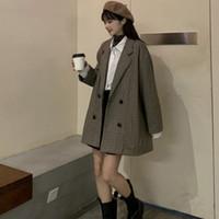 Novo inverno mulheres terno terno escritório senhoras casaco longo retro casaco duplo-breasted simples elegante elegante feminino lã blazer venda por atacado