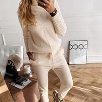 TAOVK Sonbahar Kış Kadın Örgü Suit Katı Renk Çizgili balıkçı yaka kazak ve Elastik Pantolon Örme İki Adet Set 201012