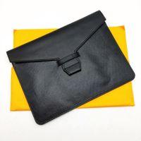 Moda homens mulheres embreagem saco clássico documento bolsas bolsa memorando tampa caotou lona com bolsa de entrada de couro genuíno tampa da bolsa de embreagem