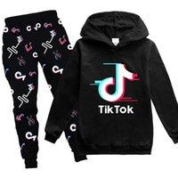 Adolescente crianças Tik Tok Hoodies Define Treino camisola Suit Hoodie + calças Jogging Boy Girl Pullover 3-14 anos esportivos terno Crianças