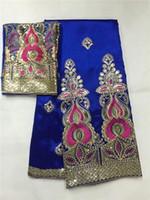 afrikalı George dantel kumaş George Kraliyet Blue 5yard Afrika kumaş 2yard işlemeli tül dantel kırmızı payet balya sarma