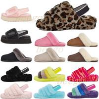 2021 Diseñador Snow Scouffette Disco Checker II Mujer Classic Fluff Fuzz, zapatos de diapositivas para mujer, niña, señora, invierno, flat, 35-42