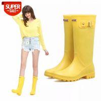 Senhoras impermeável Rainboots Feminino Joelho-Alta Moda Borracha Botas Botas Meninas Sapatos Rainboot PVC Sapatos de Água # WJ7Q