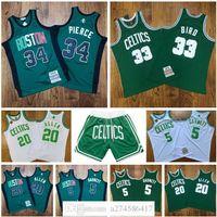 Hombres Baloncesto BostonCeltics5 Garnett 20 Allen 33 Biro 34 Pierce Mitchell Ness 2007-2008 White Green Retro Classic Jersey