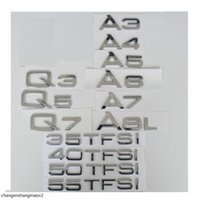 Krom Arka Trunk Mektupları Rozeti Amblem Amblemler Audi A3 A4 A5 A6 A7 A8 A4L A6L A8L Q3 Q5 Q7 35 40 45 50 55 TFSI