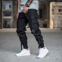 Erkek Çok Cep Harem Pantolon Erkekler Streetwear Punk Kargo Pantolon Hip Hop Rahat Pantolon Joggers Erkek Siyah Pantolon GW014 J1218