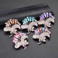 Épingles, broches iyoe grandes goupilles de fleurs pour femmes élégant robe bijoux de luxe cristal multicolore bouquet de bouquet broche feuille