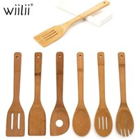 6шт / комплект Деревянный шпатель бытовой длинной ручкой ложка бамбука жареные ложки приготовления посуды кухонные туризы инструмент T200507