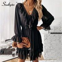 Vestidos Casuais Southpire Black Lace Splice V-Pescoço Ruffle Dress Mulheres Elastic Waist Up Mini Party Fashion Ladies Christmas Roupas1