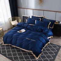100% Silk Brodé Set de couverture de couette Set 4PC Accueil Textile Textile Size Literie Literie Duvet Cover Feuille Taie d'oreiller en gros