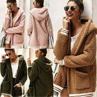 Moda casual bolsillo para mujer mujer invierno teddy bear folece piel mullido cremallera capa con capucha chaquetas jumper Outwear1