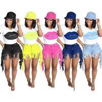 أزياء المرأة الملابس الأعلى قصيرة الشرابة جينز مجموعة الصيف جينز مهدب الشفاه طباعة تي شيرت قطعتين الدينيم السراويل الأزياء السراويل السراويل H12803
