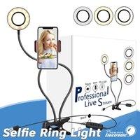 2 1 Selfie'nin Halka Işığında Cep Telefonu Tutucu Aydınlatma LED Canlı video akışı Makyaj Fotoğraf çoklu modları için esnek usb kablosu Standı