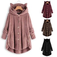 Frauenjacke Winter Warme Hoodie Button Lose Lange 2021 Plus Größe Damen Chamarra Cazadora Mujer Mantel Feste Outwear Dropshipping