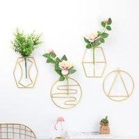 Ins Vaso de vidro geométrico Cultura de água da parede decoração parede de arte de ferro pendurado decoração da casa da flor criativa