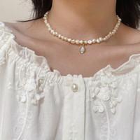 Frauen Barock Perle Kette Choker Halskette Strass Orbit Mond Stein Anhänger Halsketten Für Geschenk Party Mode Vintage Schmuck Zubehör