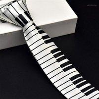 Бантики галстуки творческий дизайн уникальный музыкальный галстук подарок для человека с кино клавиатурой широкой классической музыки тонкие мужчины галстуки1