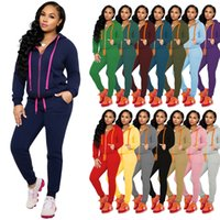 Fall Women Clothes Two Piece Tracksuits Set Fashion Sexy Sol...