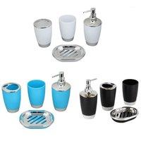 4PCS / SET Titulaire de brosse à dents de haute qualité durable de haute qualité + Distributeur de savon + tasse de lavage + savon de salle de bain costume accessoires NEW1