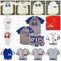 44 Hank Aaron Atlanta Milwaukee 715 Home Run 25e 1972 1963 1975 1979 Retournez le jersey de l'horloge Vintage Cooperstown Jersey