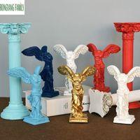 Antiga Vitória Grega Goddess Estátua Europa Resina Ornamentação Personagem Escultura Artesanato Home Office Desktop Decoração Figurine T200703