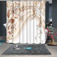 3D Diamond papillon lotus motif fleur de douche rideaux rideaux de salle de bain épaissir le rideau de bain épaissi étanche T200711