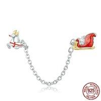 Charms 100% Catena 925 d'argento di Natale di sicurezza dell'automobile regalo fascino del braccialetto d'argento originale con silicone Stopper YMSCC1667