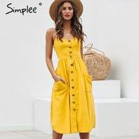 Simplee Şık düğme kadınlar Cep Lekeli Yaz gündelik kadın artı boyutu bayan plaj vestidos 201.015 elbise midi sarı pamuk elbise