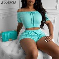 ZooEffbb Sexy Two Morceau Senutions assorties Été Clotherie SweatSuits Crop Top and Biker Shorts 2 pièces Ensemble Femme Tracksuit T200706
