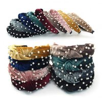 Geknotete Perlenkopfband Samt Top Bogen Kopfreifen Frauen Weit Haarband Mode Mädchen Headwear Haarschmuck 9 Farben