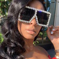 Oversized Praça colorido diamante óculos de sol Mulheres Big Quadro de luxo cristal óculos de sol Mulher Rhinestone Óculos UV400 11 cores 20PCS