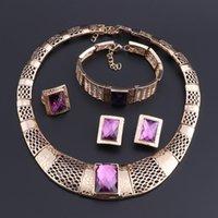 Cristallo viola di colore dell'oro I monili con il braccialetto delle donne degli orecchini geometrica Dichiarazione Collana di cerimonia nuziale per