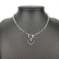 Chokers Fuyo Gold Sliver Color Heart Heart Collane Collar Collar Vintage Chunky Collana a catena per le donne Choker Moda Gioielli1
