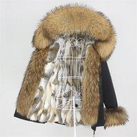 Oftbuy Kış Ceket Kadın Kısa Su Geçirmez Parka Gerçek Tavşan Kürk Liner Ceket Doğal Rakun Büyük Kürk Yaka Hood Çıkarılabilir 201126
