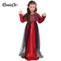 Thema Kostüm 2021 Halloween für Kinder Mädchen Vampir Mädchen Rot Mittelalterliches Kleid Kind Party Cosplay1