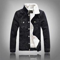 Nuovo arrivo di inverno uomini neri più velluto Denim Jeans monopetto in cotone Solid Turn-down Collar Breve Bomber 201028