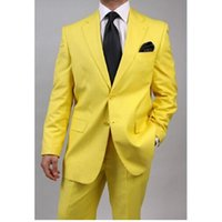 New Lastest designs Customize made Groomsmen Groom Tuxedos yellow Men Suits Wedding Best Man Blazer (Jacket+Pants)