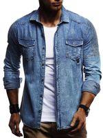 Männer Lässige Hemden Hemd Denim Stil Plissee Schulter mit Taschen Jeans Herren Langarm Baumwolle