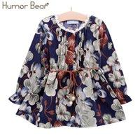 Юмор медведь Девушки платье Новый осень стиль девушки одежда с длинным рукавом случайные девушки одежда детское платье напечатано милое платье 3-7Y Y200325