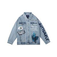 Original Carta de Graffiti pintado Streetwear Jeans para hombres y mujeres otoño rompevientos Denim Escudo de Hip Hop de gran tamaño ocasional de la capa