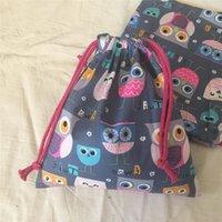 Yile Хлопок Twill ткани ручной работы Косметический мешок Drawstring Многоцелевой мешок партии подарок BagPrint Кубок Совы Gray Base N630d
